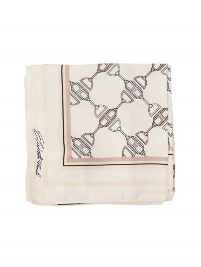 Elisabetta Franchi  Large silk foulard scarf with horse bit print FO03F11E2 Burro