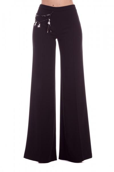 Elisabetta Franchi  Palazzo trousers with chain anc charms PA26891E2 Nero