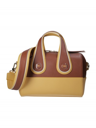 Elisabetta Franchi  Two-tone handbag with detachable strap BS35A97E2 Gianduia/Senape/Burr