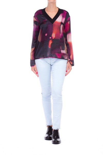 Manila Grace  PATTERNED TOP WITH V-NECLKINE AND COLLAR WITH LUREX SO8645