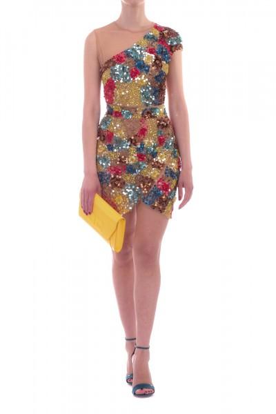 Elisabetta Franchi  Tulle mini dress with multi-tone emboridery AB69692E2 Multicolor