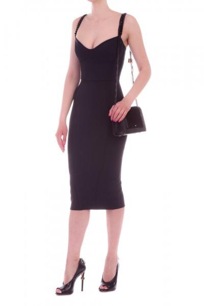 Elisabetta Franchi  Pencil dress with chains AB77192E2 Nero