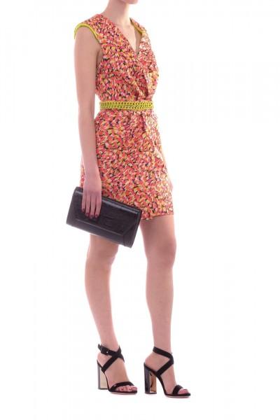 Elisabetta Franchi  Dappled mini dress with chains AB84793E2 Flamingo