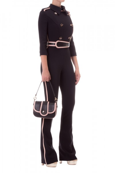 Elisabetta Franchi  Jumpsuit with belt and logoed buttons TU21297E2 Nero/Rosa antico