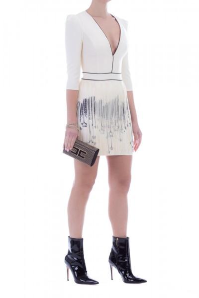 Elisabetta Franchi  Mini dress with fringes and city print AB91596E2 Burro