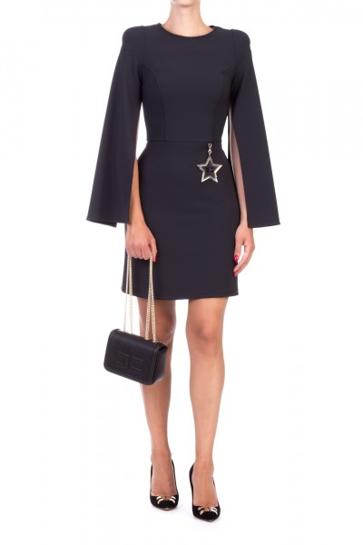 Elisabetta Franchi  Mini dress with star and slits on the sleeves AB90096E2 Nero