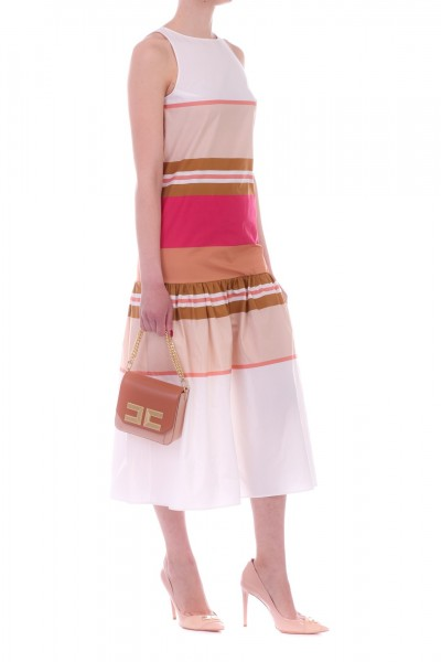 Manila Grace  Multi-tone striped midi dress A642CI NOISETTE