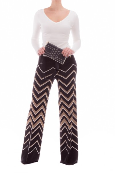 Twin-Set  Patterned knit trousers wtih glitter 202TT3063 JACQ.NERO/NEVE