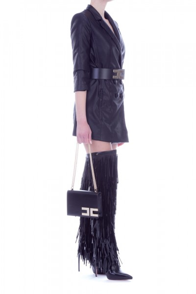 Elisabetta Franchi  Long leather jacket with belt GI10991E2 Nero