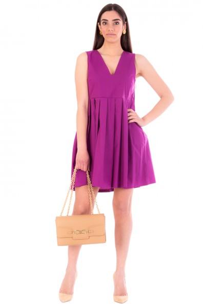 Manila Grace  Mini abito stile impero plissettato A110CU UVA