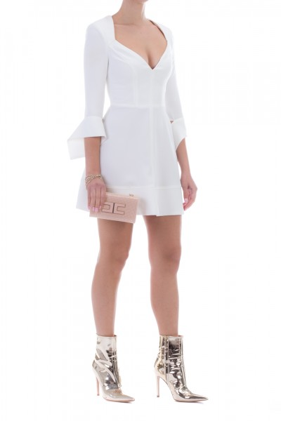 Elisabetta Franchi  Mini dress with ribbons to the sleeves AB94996E2 Avorio
