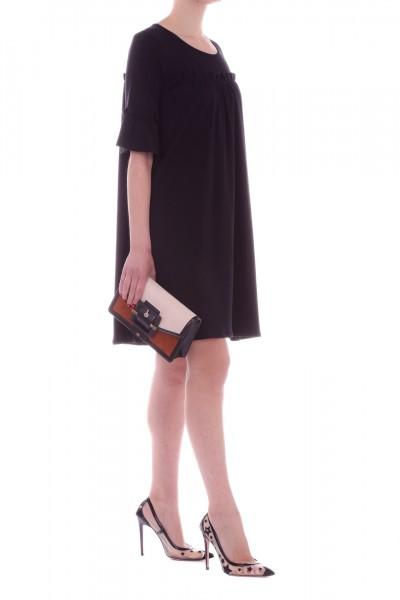 Manila Grace  Mini dress with flounces A682JU NERO LAVAGNA