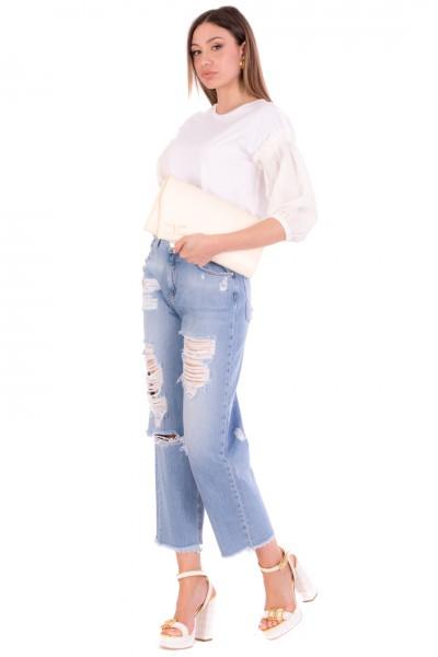Pinko  Jeans Ampi Effetto Destroyed e Applicazione Strass 1J10LG-Y649