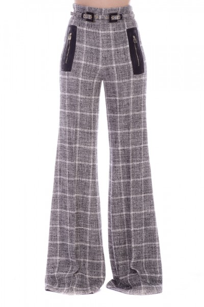 Elisabetta Franchi  Bouclè palazzo trousers with belt PA24791E2 Nero