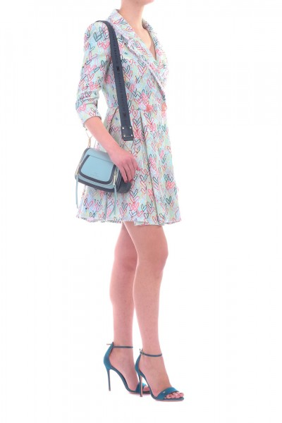 Elisabetta Franchi  Coat dress with heart print AB77892E2 Acquamarina