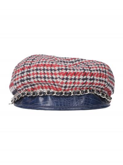 Elisabetta Franchi  Textured hat with chain CL1MR96E2 Blu