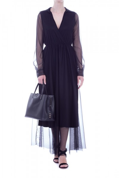 Motel  Long dress with tulle A724/4 Nero