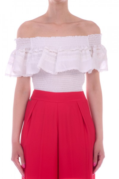 Manila Grace  Off-shoulder crop top Y534CU VAR.UNICA