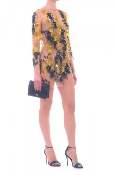 Elisabetta Franchi  Mini abito in tulle ricamato AB75592E2 Avocado/Ottanio