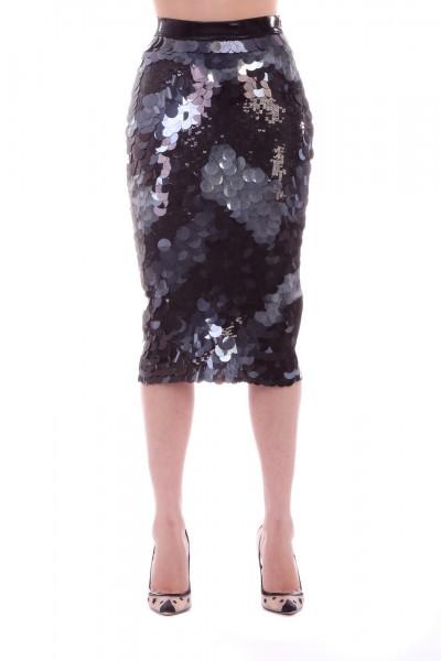 Elisabetta Franchi  Pencil skirt with maxi sequins GO20593E2 Nero