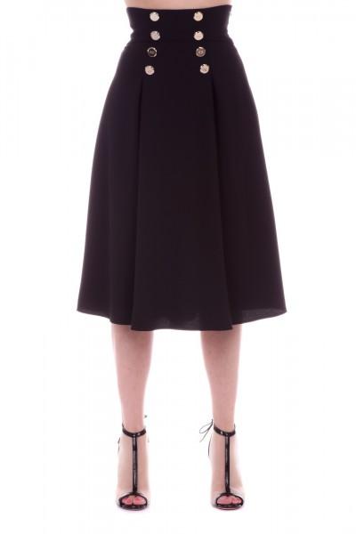 Elisabetta Franchi  Longuette skirt with gold buttons GO19691E2 Nero