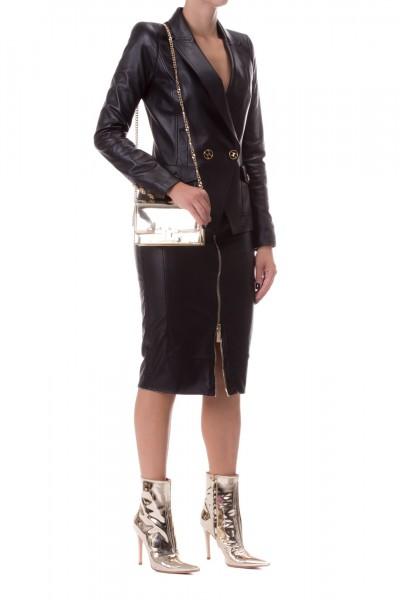 Elisabetta Franchi  Faux leather pencil skirt with gold zip GO27597E2 Nero