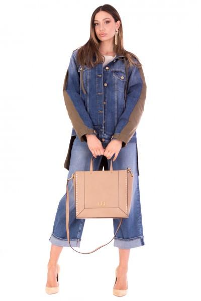 Manila Grace  Parka jacket with denim insert and hood G006D6 MEDIUM BLUE