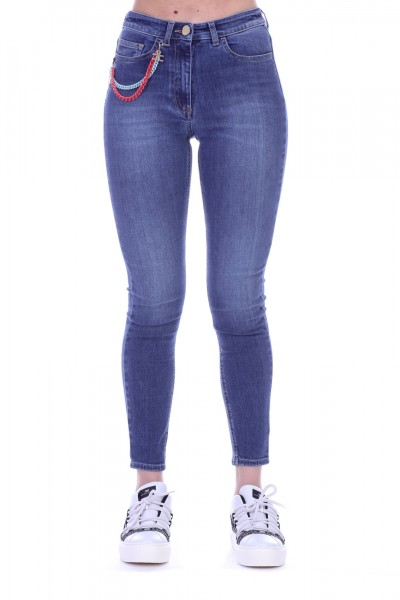 Elisabetta Franchi  Jeans with colored chains PJ22I91E2 Used Blue