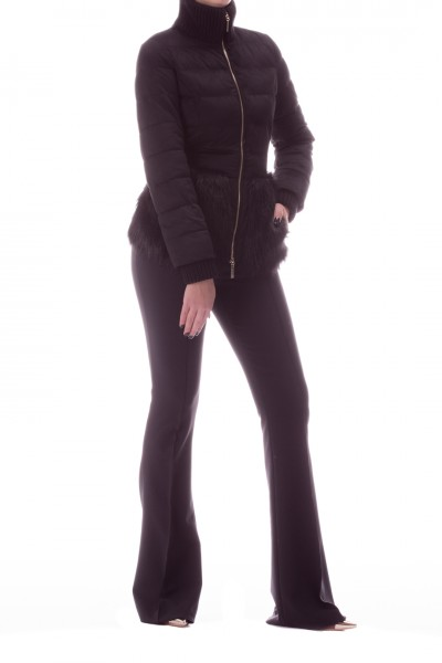 Elisabetta Franchi  Quilted coat with fur insert and belt PI27H06E2 Nero