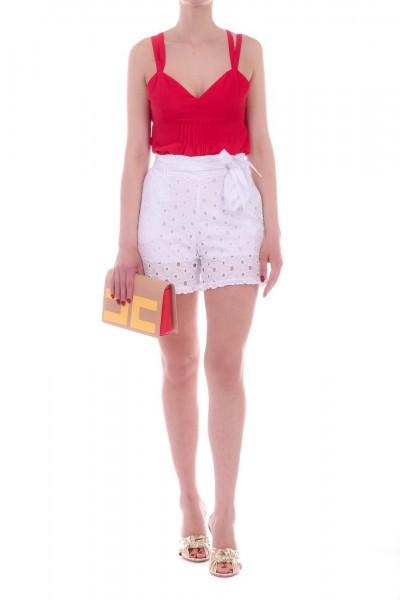 Manila Grace  Shorts in Sangallo O510CR BIANCO OTTICO