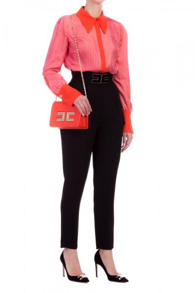 Elisabetta Franchi  Camicia stampa loghi con inserto a contrasto CA23197E2 Lacca/Chewingum