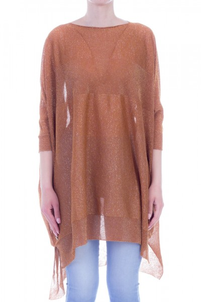 Manila Grace  Maxi sweater with lurex A714MW COGNAC