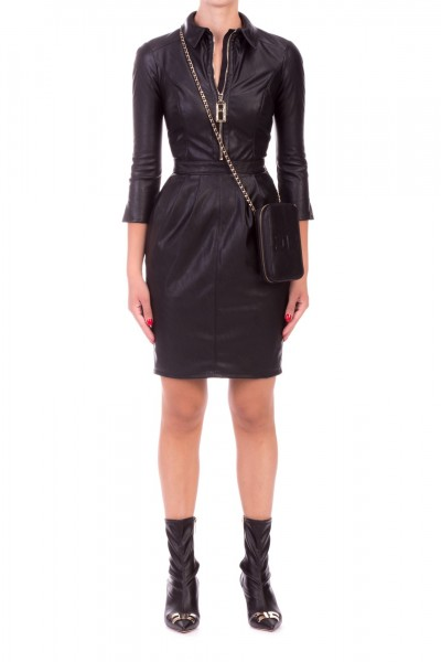 Elisabetta Franchi  Faux leather dress with zip AB97396E2 Nero