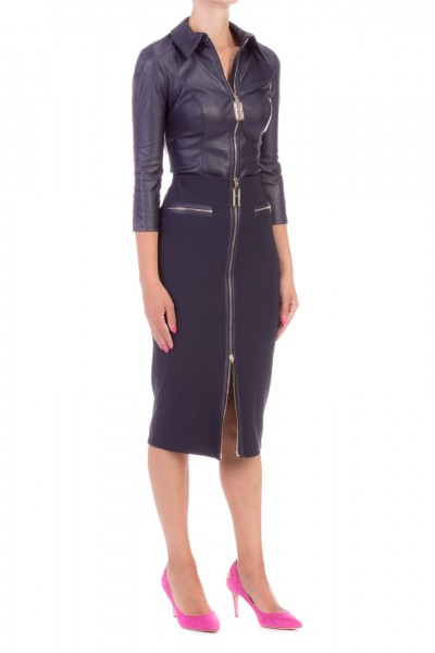 Elisabetta Franchi  Pencil skirt with zip and logoed puller GO26196E2 Blu