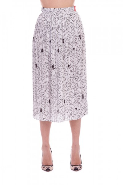 Elisabetta Franchi  Pleated skirt with Elisabetta print GO19191E2 Avorio