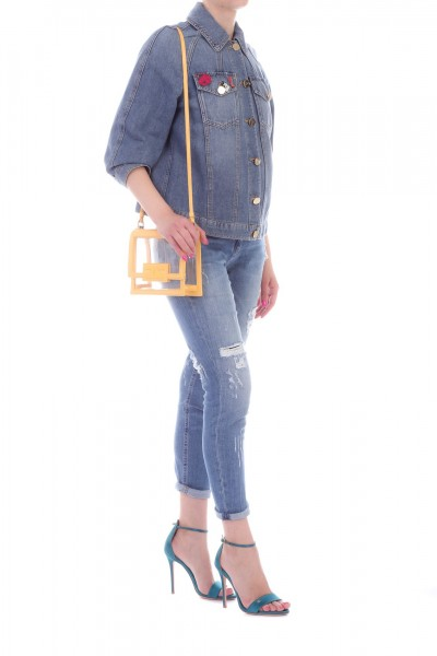 Elisabetta Franchi  Denim jacekt with pins BJ01M91E2 Blue vintage
