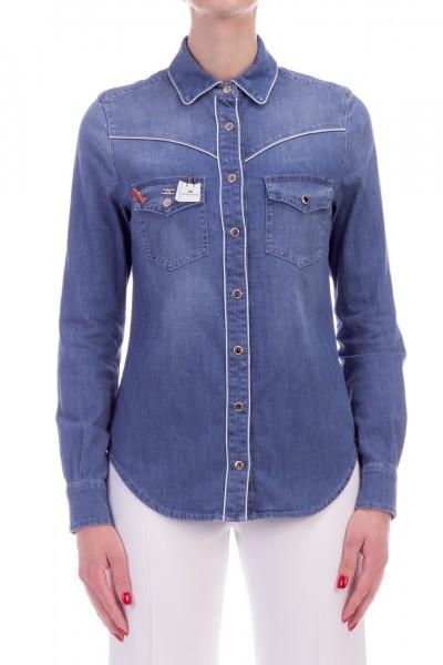 Elisabetta Franchi  Camicia di jeans con spille CJ01D91E2 Light Blue