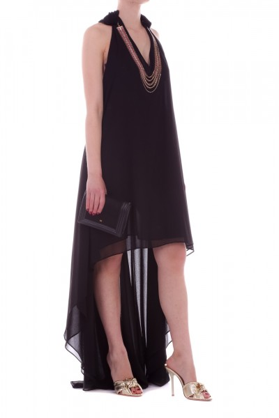 Les Bourdelles des garcons  Asymmetric dress with detachable necklace A28 NERO