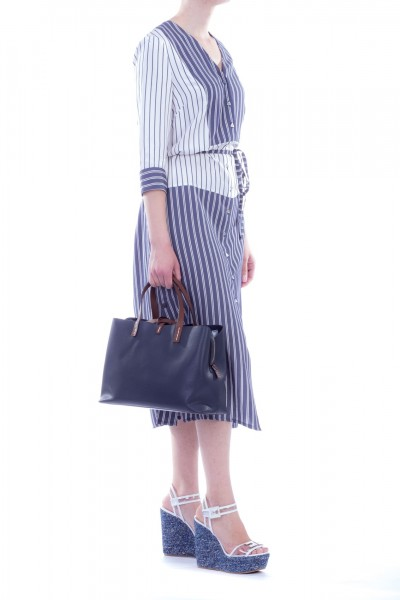 Manila Grace  Striped chemisier dress with ribbon A125VI VAR.UNICA