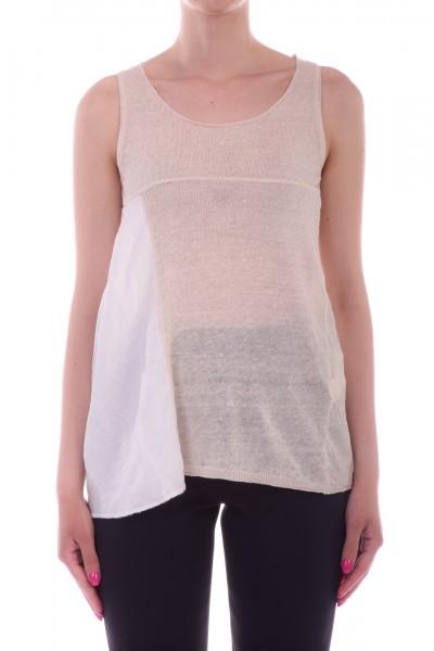 Manila Grace  Knit top with fabric insert M748MU OFF WHITE