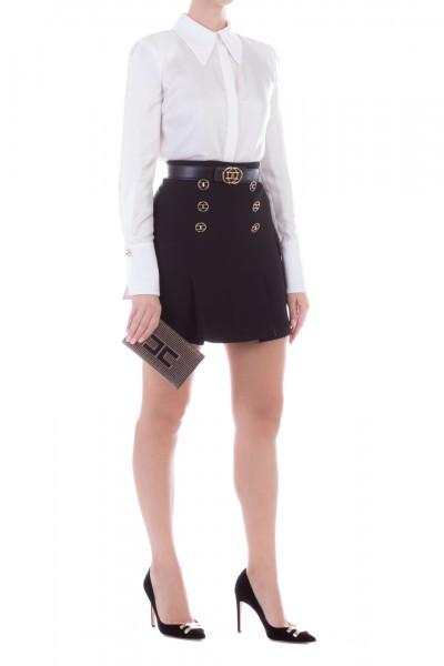 Elisabetta Franchi  Miniskirt with loged belt GO32397E2 Nero