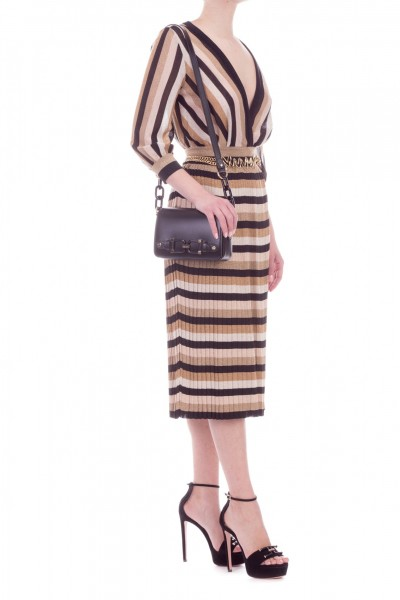 Elisabetta Franchi  Striped knit dress AM22T92E2 Nero
