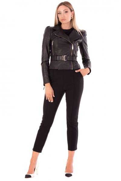 Elisabetta Franchi  Leather jacket with lapels and belt GD18Z16E2 Nero