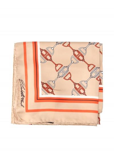 Elisabetta Franchi  Large silk foulard scarf with horse bit print FO03F11E2 Cammello