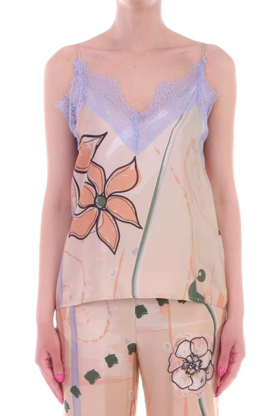 Manila Grace  Floral printed top with lace Y691VS VAR.UNICA