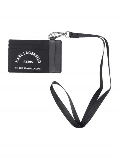 Karl Lagerfeld  Card holder with neck strap 96KW3219 NERO