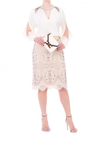 Twin-Set  Blusa con frange e spacco sulle maniche 201TP2283 AVORIO