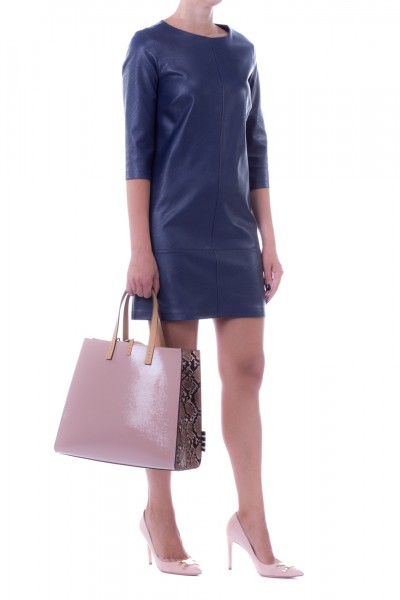 Manila Grace  Leather mini dress Fabia model FABIX3 BLU NAVY