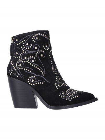 Twin-Set  My Twin - Suede ankle boots with studs 192MCP016 NERO