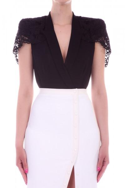 Elisabetta Franchi  Bodysuit with collar and lace insert CB05292E2 Nero